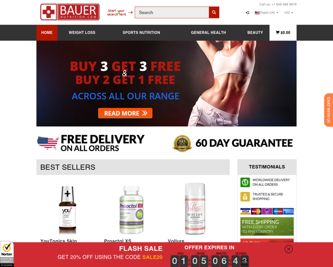 Bauer Nutrition coupon codes