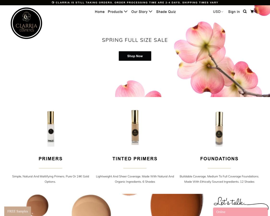 Clarria Cosmetics coupon codes