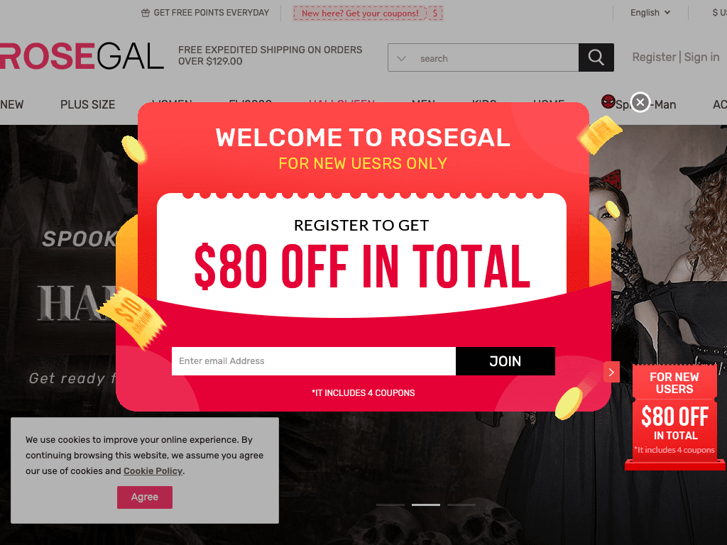 User picked 80% OFF with RoseGal Coupons in October 2020