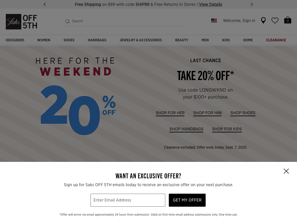 Saksoff5th.com coupon codes